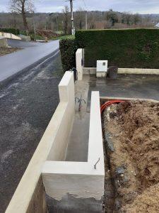 mur pour portail électrique coulissant enduit Bréhand Pommeret