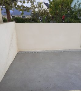 mur de clôture enduit dalle piège à eau Pommeret Lamballe